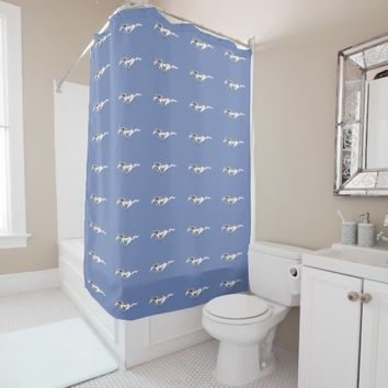 Ford Mustang Logo on a Blue Background Shower Curtain