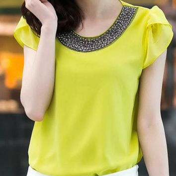 Embroided Chiffon Blouse - Yellow
