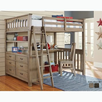 Highlands Collection Driftwood Full-size Loft Bed, Dresser, and Desk