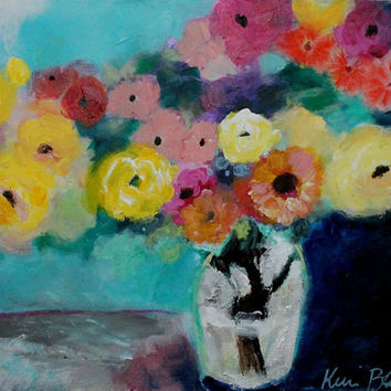 "Colorful Abstract Flowers in Vase, Floral Still Life Original Acrylic Painting 11x14 ""Summer Bouquet"""