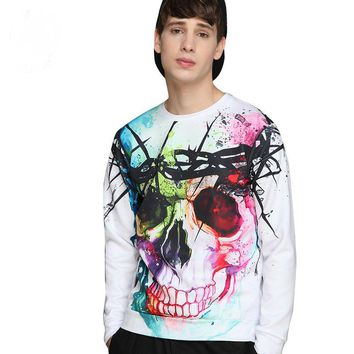 2017 autumn and winter new European and American male digital skull 3D printing hedging sweater