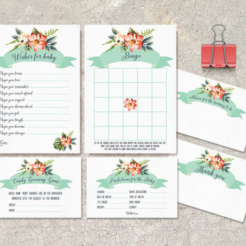Baby Shower Games, Instant Download - DIY printable Set of 6: Wishes for baby, Advice, Thank you, Bingo, Predictions and Candy Guessing game