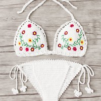 Embroidered Crochet Bikini Set