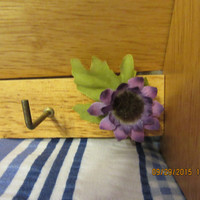 Up-Cycled Cottage Chic Natural Wood Wall Organizer with Purple Flower Accents