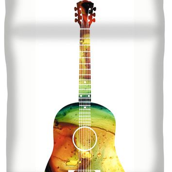 Acoustic Guitar - Colorful Abstract Musical Instrument Queen Duvet Cover