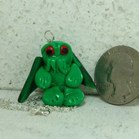 Cthulhu Jewelry Polymer Clay Pendant with Sterling silver chain
