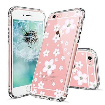 DCCKV2S iPhone 6 Case, iPhone 6s Clear Case, MOSNOVO Pink Cherry Blossom Floral Printed Flower Clear Design Transparent Plastic Hard Back with TPU Bumper Protective Case Cover for Apple iPhone 6 6s (4.7 Inch)