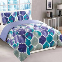 Emmi Comforter Set in Purple/Teal