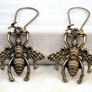 Dangle metal earrings,insect bugs scarab beetle fly steampunk goth charm modern boho contemporary eco friendly vintage antique earrings