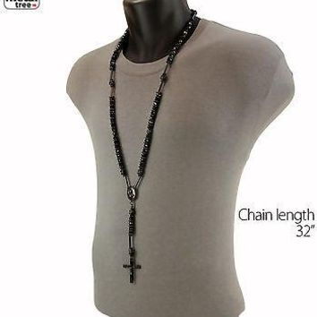 Jewelry Kay style Hip Hop Shiny Glass 8mm Black Bead Rosary Pray Hand & Jesus Cross Necklace BK