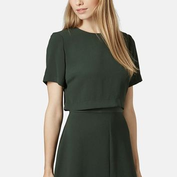 Women's Topshop Satin Trim Overlay Dress,