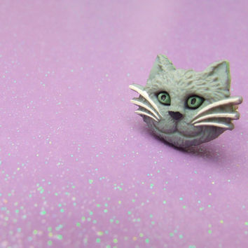 Grey Tabby Cat Adjustable Ring - Kitty Cat Ring - Cute Cat Ring - Adorable Gray Kitten Ring - Cat Lover Jewelry