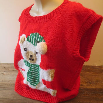 Vintage Ugly Christmas Sweater / Teddy Vest / Puff Ball Hat / Red  Sweater / Size Large