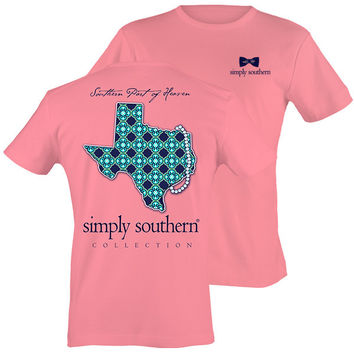 Simply Southern Texas Preppy State Pearls Pattern T-Shirt