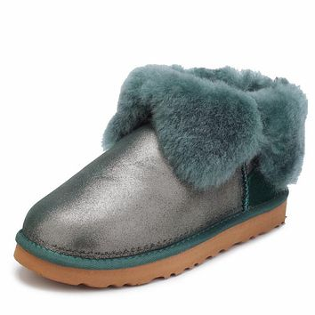 UGG Trending Women Men Winter Four-Leaf Fur Snow Boots Warm Anti-Skid Short Boots Dark Green