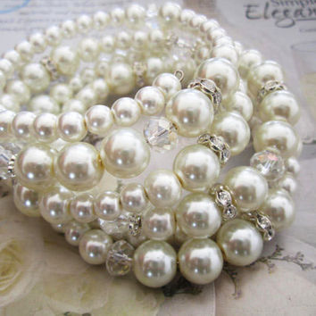 Pearl Wedding Bracelet, Bridal Pearl Bracelet, Statement Bridal Jewellery, Pearl and Rhinestone, Weddings, Jewelry, Bracelet, Cuff