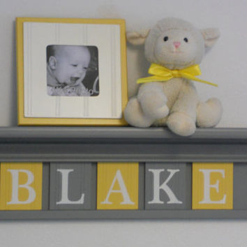 "Yellow and Gray Nursery Wall art - Yellow Baby Boy Nursery Decor - BLAKE - Personalized 24"" Grey Wood Shelf 5 Wooden Wall Letters"
