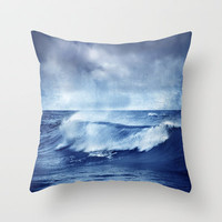 Blue wave Throw Pillow by Guido Montañés