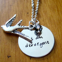 "Divergent Inspired Necklace. Tris quote ""I am divergent"". Birds Tattoo, Silver colored, charm pendant, Swarovski crystal, jewelry."