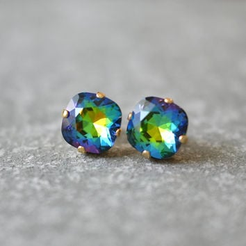 Blue Green Rainbow Swarovski Crystal Stud Earrings Swarovski Crystal Studs Mashugana