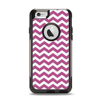 The Dark Pink & White Chevron Pattern V2 Apple iPhone 6 Otterbox Commuter Case Skin Set