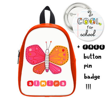 Custom Butterfly Daypack + FREE pin button - girl's schoolbag - Personalized school children accessory - customized for kids + animal design