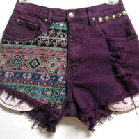 Vintage  High Waist   Denim Shorts Southwestern Print  Waist 26   inches