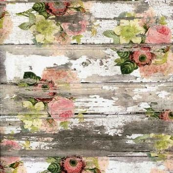 PRINTED VINTAGE WATERCOLOR FLOWER WOOD PHOTO BACKDROP - 7196 Platinum Cloth Backdrop 5x6 - LCPC7196 - LAST CALL