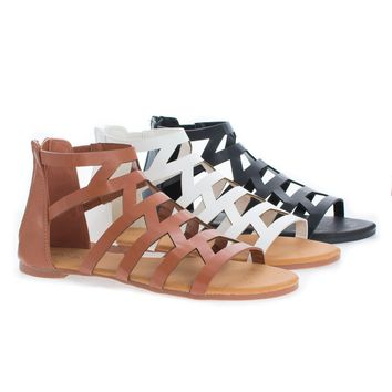 Dino90 By Bamboo, Open Toe Gladiator Geometric Flat Slip On Zip Up Sandals