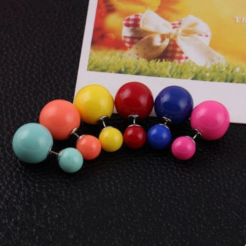 Sales Genuine Brand Designed Trendy Cute Charm Double simulated pearl Ball Stud Earrings Jewelry Free shipping crystal jewelry