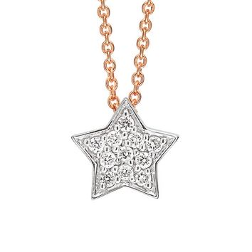 Tiny Diamond Star Necklace - Rose Gold