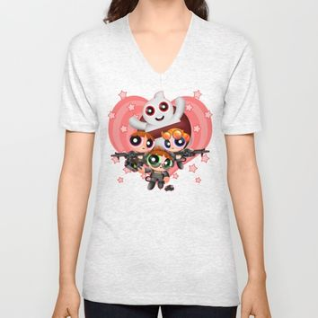 Cute Power Ghost Buster Puff Girl Squad Unisex V-Neck by Greenlight8