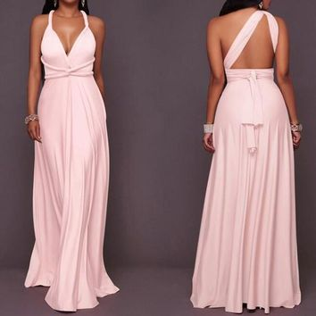 Pink Sashes Draped Tie Back Multi Way Prom Evening Party Maxi Dress