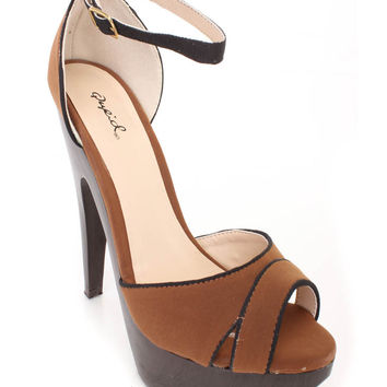 Rust Ankle Buckle Strap Platform Heels Smooth Faux Leather