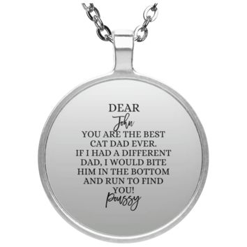 Funny Father's Day Gift For Dad From Wife, Daughter, Son, Stepdaughter, Stepson, Mom, Grandma, Mother In Law (UN4686 Circle Necklace)