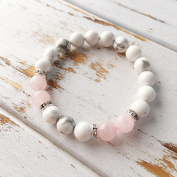Peaceful Love Rose Quartz White Howlite Healing Jewelry Intention Bracelet Yoga Jewelry Mala Beads Healing Bracelet