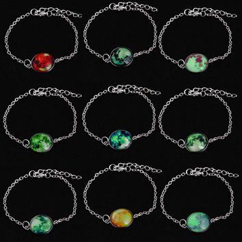 Glow in The Dark Solar System Bracelet Planets Space Moon Charm Jewelry  Christmas gift