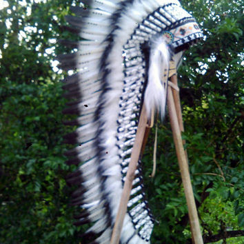 Extra LONG Native American Headdress, Long Indian Headdress, Native American Clothing, Pow wow, tee pee party, edc, rave headdress