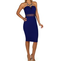 Royal Sweetheart Textured Midi Dress