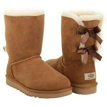 UGG Fashion Women Bow Flats Leather Boots Half Boots Shoes