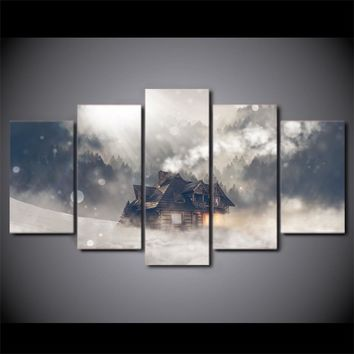 5 piece Canvas Panel Wall Art Picture Print - Winter scene house snow forest