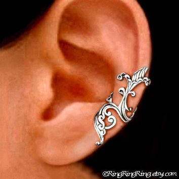 925, Iris wave - solid sterling silver ear cuff earring jewelry non pierced earcuff  090912