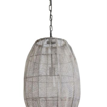 Round Pendant Lamp with Jute Screen -- 24-in