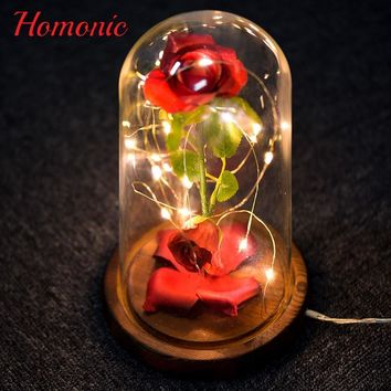 LED Eternal Rose Slik flower Beauty and the Beast Red Rose in Glass Dome Wooden Base for Valentine's Gifts Home Table Decoration