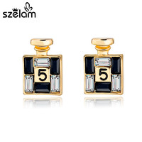 Szelam 2017 New Arrival Bijoux Gold Channel Earrings For Women Crystal Stud Earings Famous Brand Jewelry Brincos SER150066