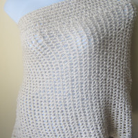 Crochet poncho off white organic cotton cowl by Elegantcrochets