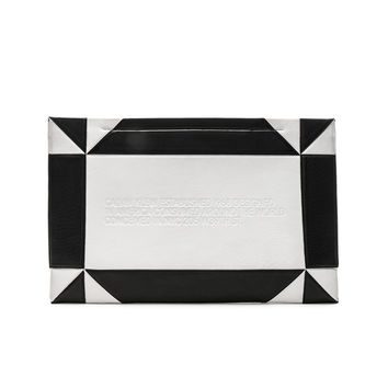 CALVIN KLEIN 205W39NYC Geometric Quilted Clutch in White & Black | FWRD