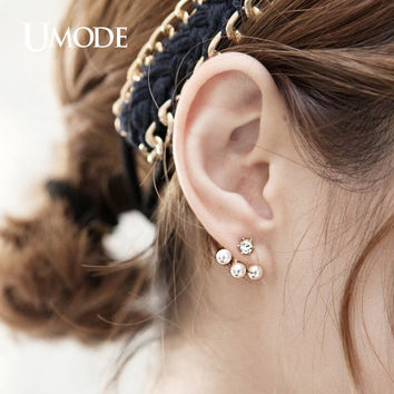 UMODE Cute Double Side Synthetic Pearl Stud Earrings With Jacket Fashion Brinco Rose Gold Color Jewelry for Women JE0255A