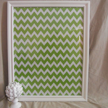 Framed Dry Erase Board with green CHEVRON detail/ Chalk board up cycled. Restaurant, Kitchen menu board, note board, college decor, note