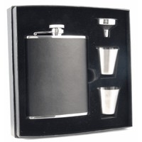 Visol Ano Black Leather Supreme Flask Gift Set - 6 ounces | Overstock.com Shopping - The Best Deals on Flasks & Thermos